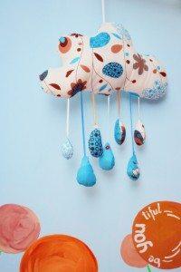 norisorul cu ploaie handmade material albastru